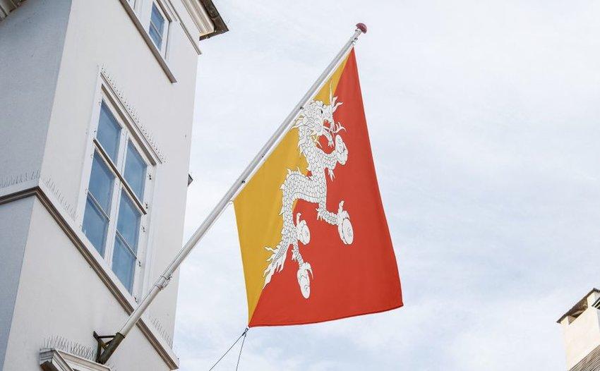 Bhutan flag outside a building