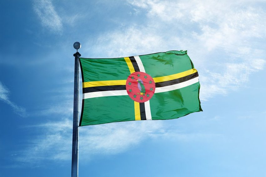 Dominica glad waving in the wind on flagpole