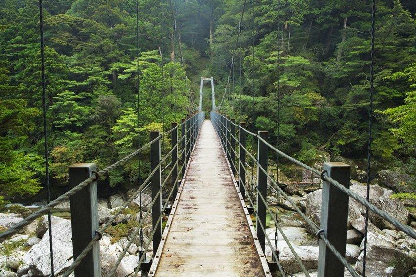 Suspension bridge in Yakushima Island in Japan