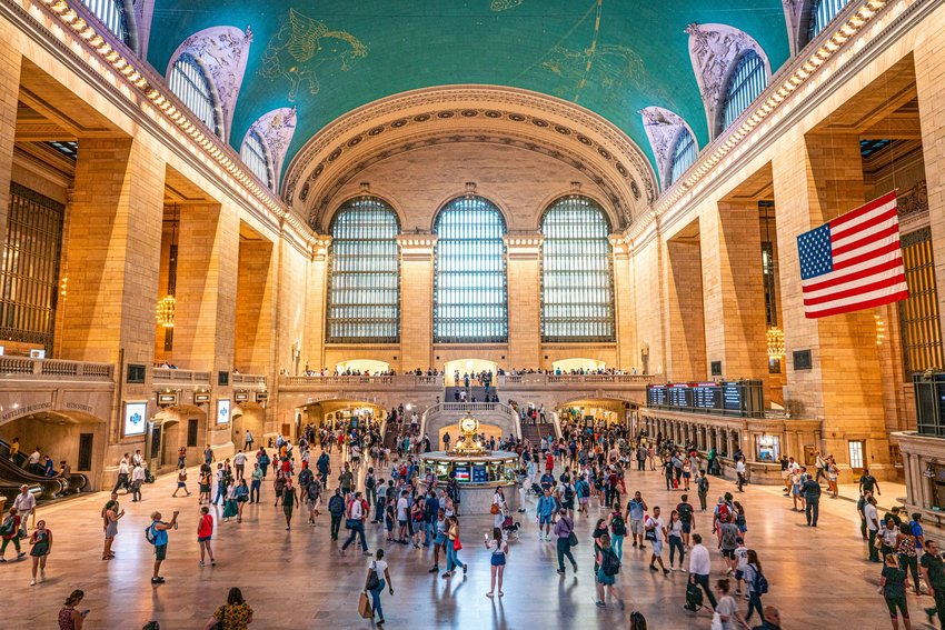Interior of Grand Central Terminal with crowd of people