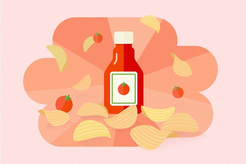 Digital illustration of ketchup chips
