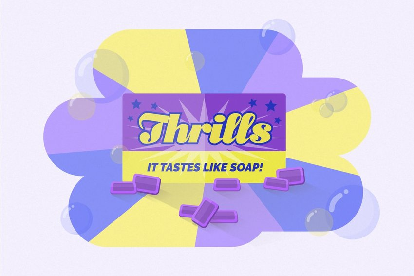 Digital illustration of Thrills gum