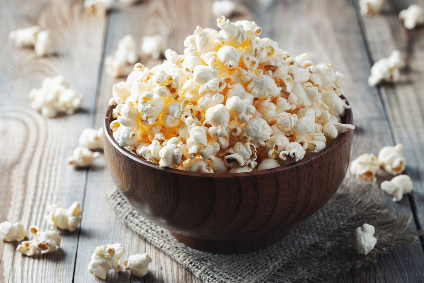Popcorn in a wooden bowl
