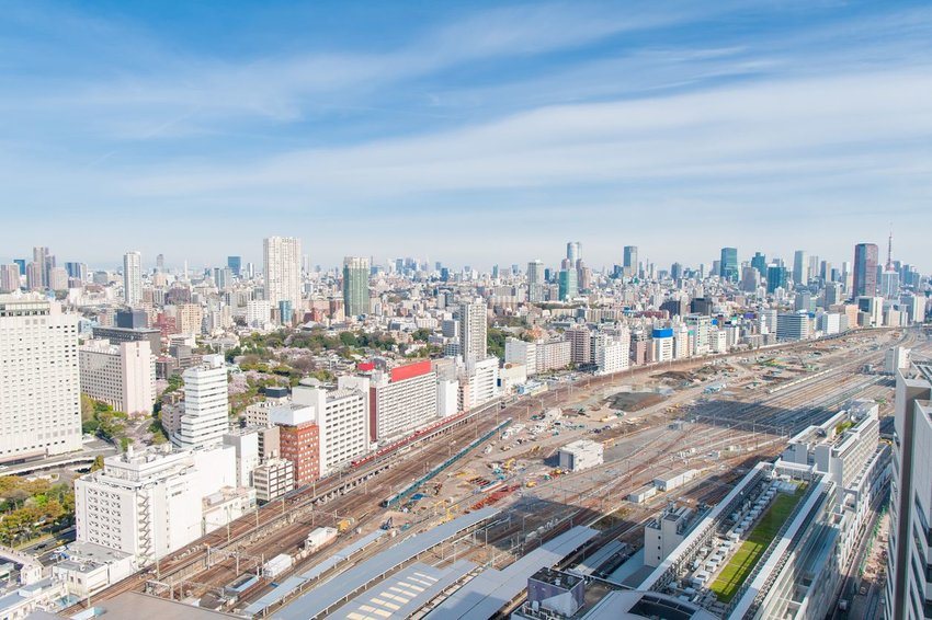 Aerial view of Tokyo and trains
