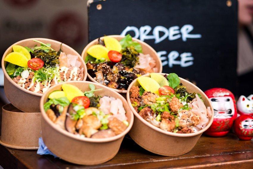 Vegetarian takeaway food at a market in London