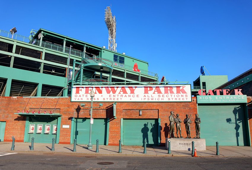 Fenway Park in Massachusetts with clear blue skies