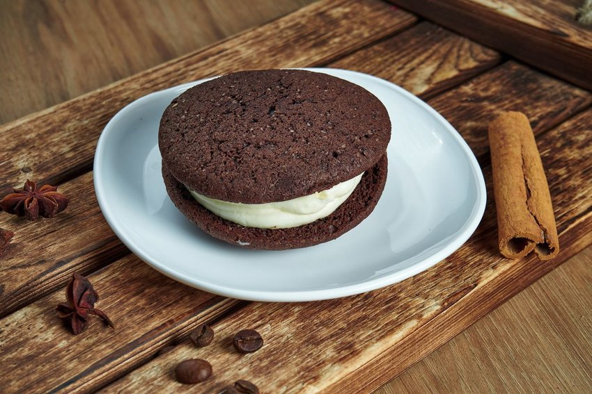 Whoopie pie set on a white plate