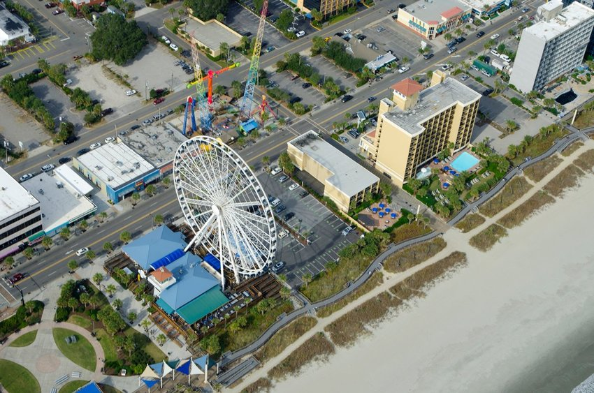 Aerial view of Myrtle Beach Boardwalk and Promenade