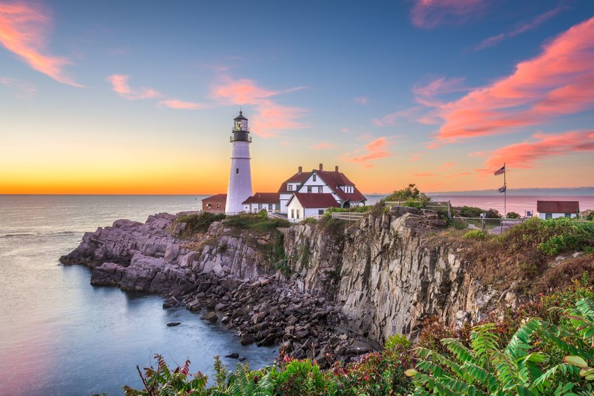 Portland Head Lighthouse in Maine at sunset