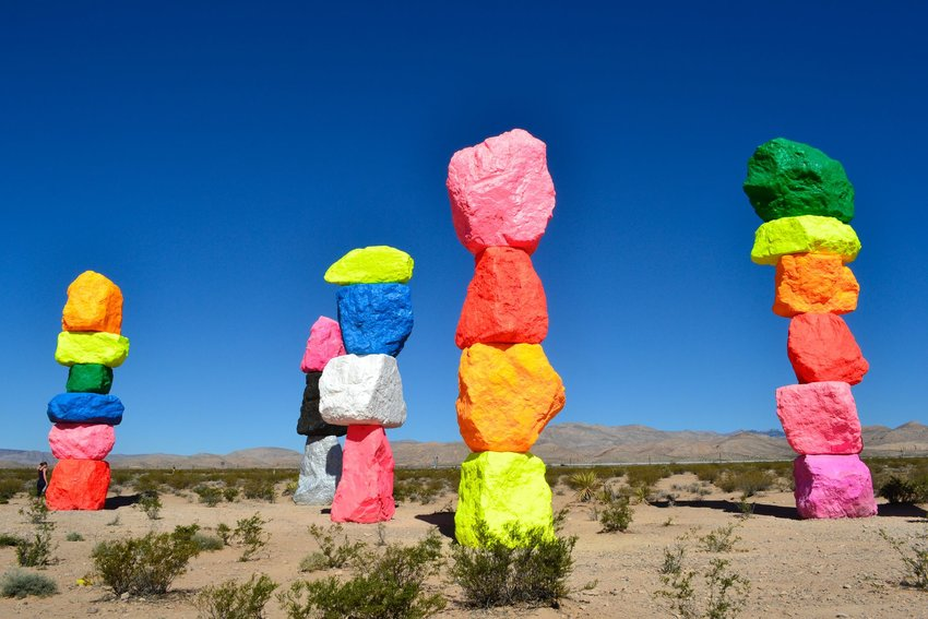 Seven magic mountains in Nevada