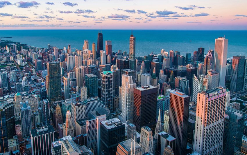 City of Chicago seen from above at sunset