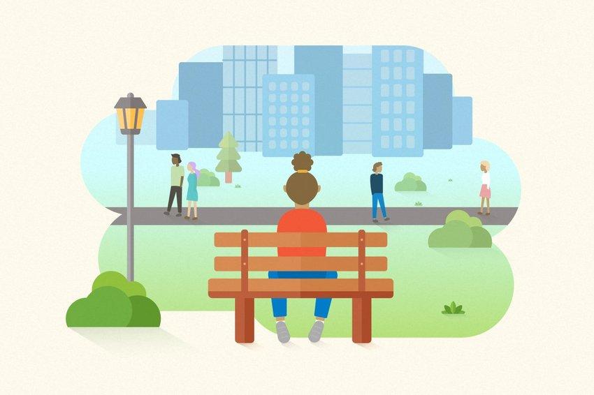 Digital illustration of a person on a bench watching others, with a cityscape in the background