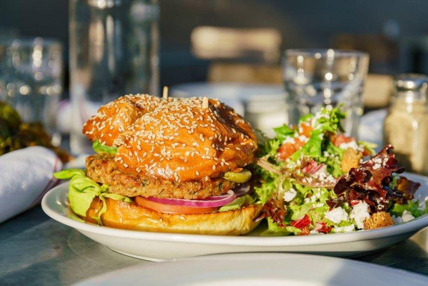Vegan burger with salad
