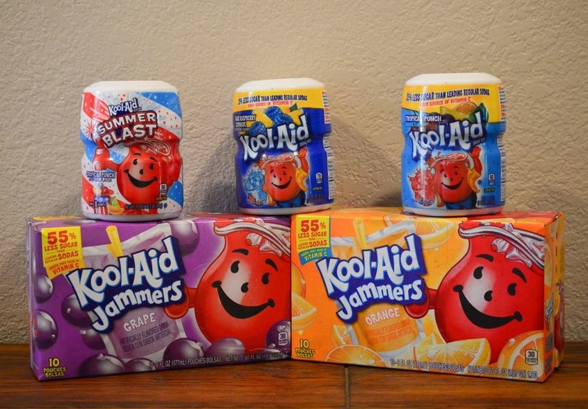 Kool-Aid boxes stacked on table