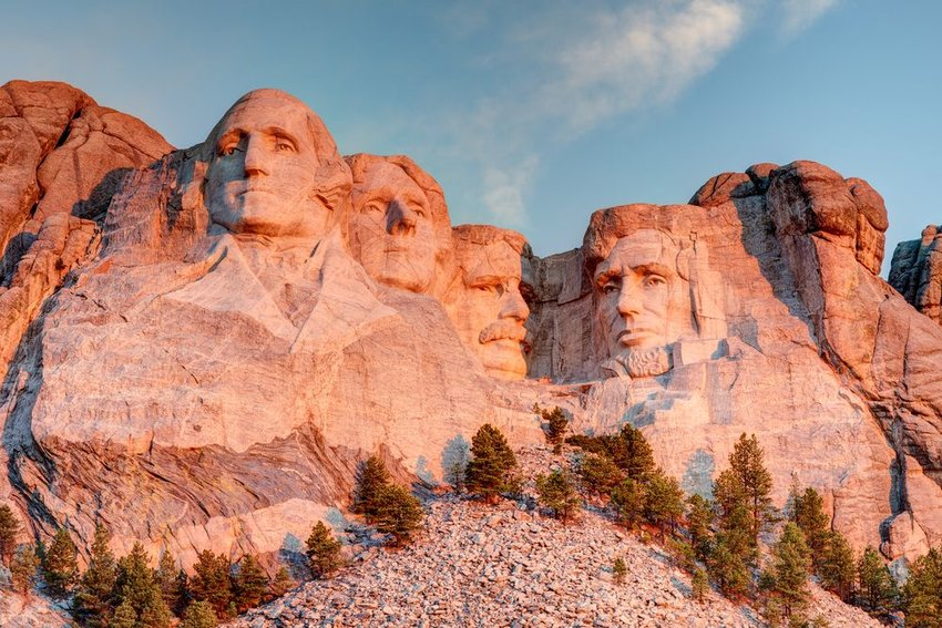 Mount Rushmore in sunset