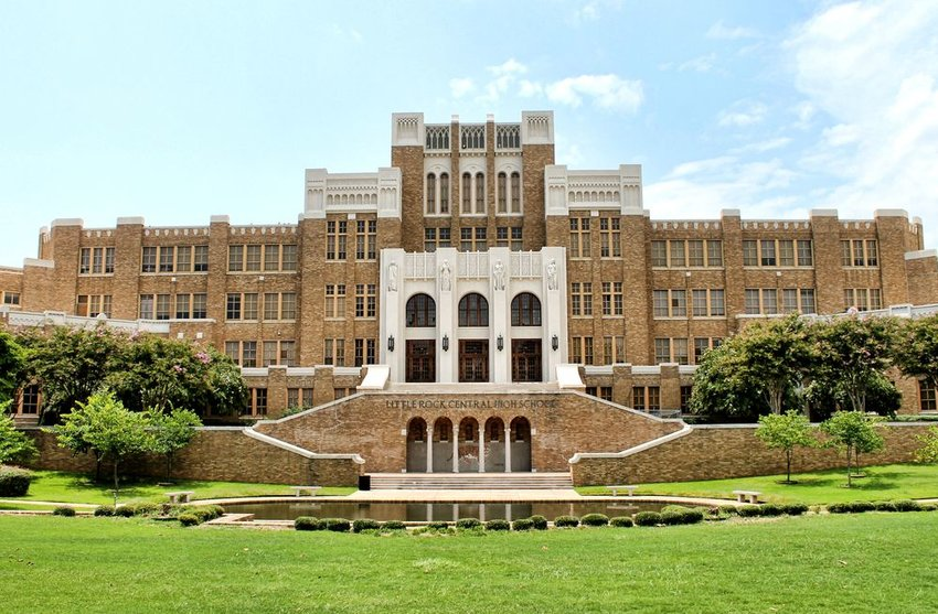 Front view of Little Rock Central High School in Arkansas