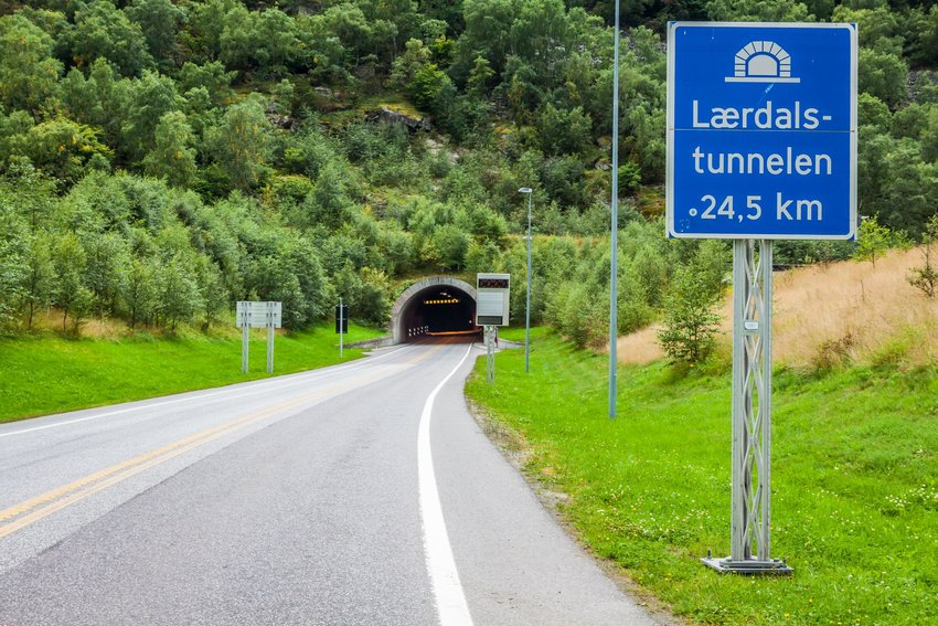 Entrance to Laerdal Tunnel in Norway
