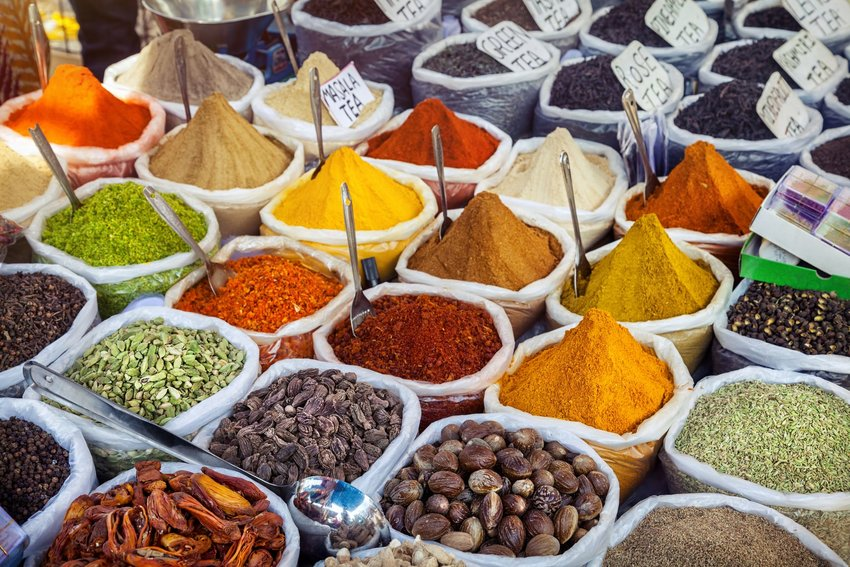 Colorful spices at a market in India