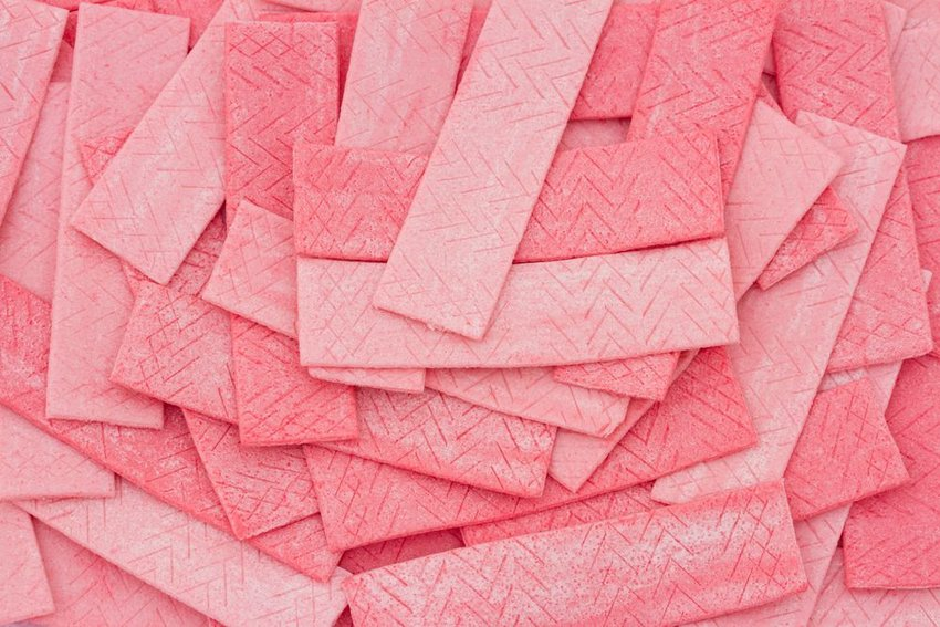 Pile of pink chewing gum