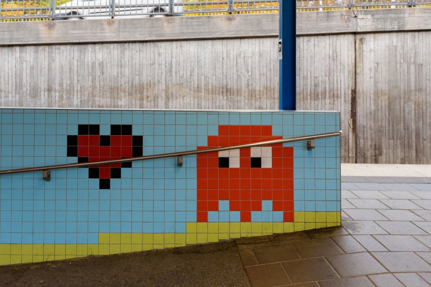 Pac man in tiles of metro station in Stockholm