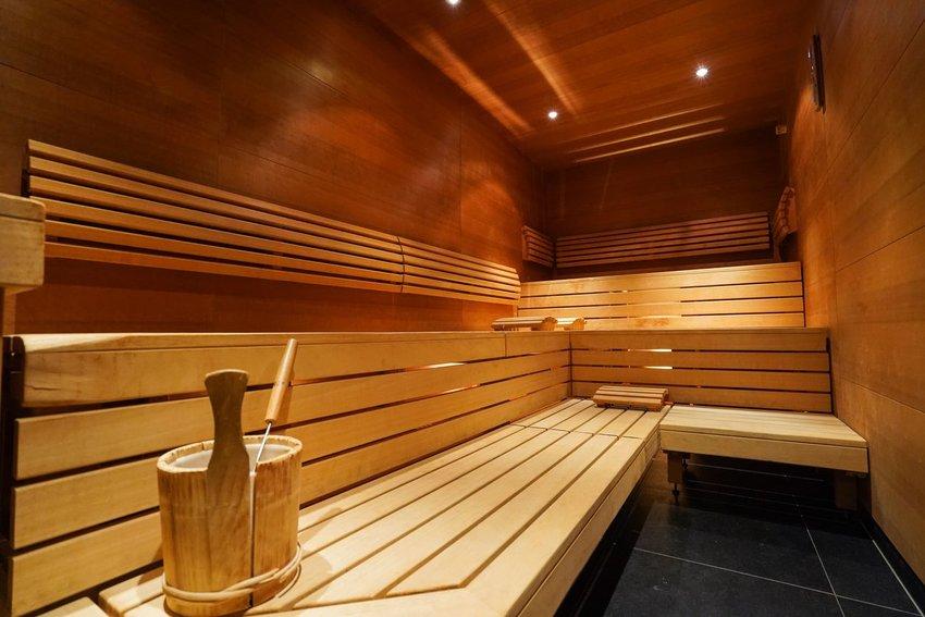Interior of a sauna with bucket