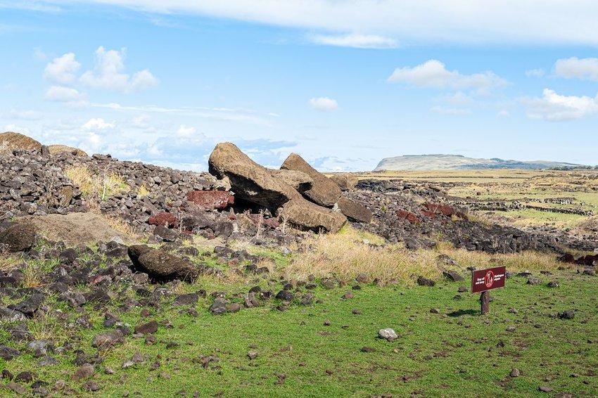 Fallen moai statues