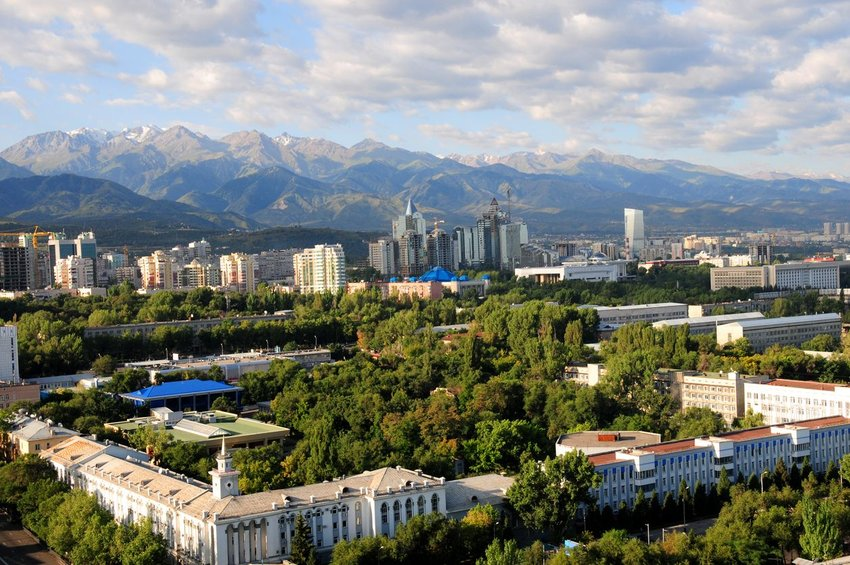 City of Almaty, Kazakhstan with mountains in the distance