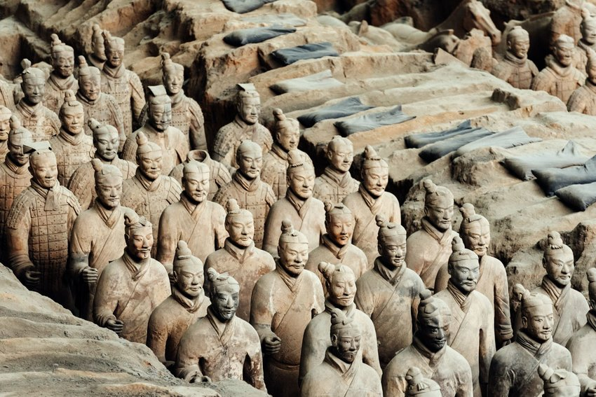 Rows of Terracotta soldiers in Xi'an