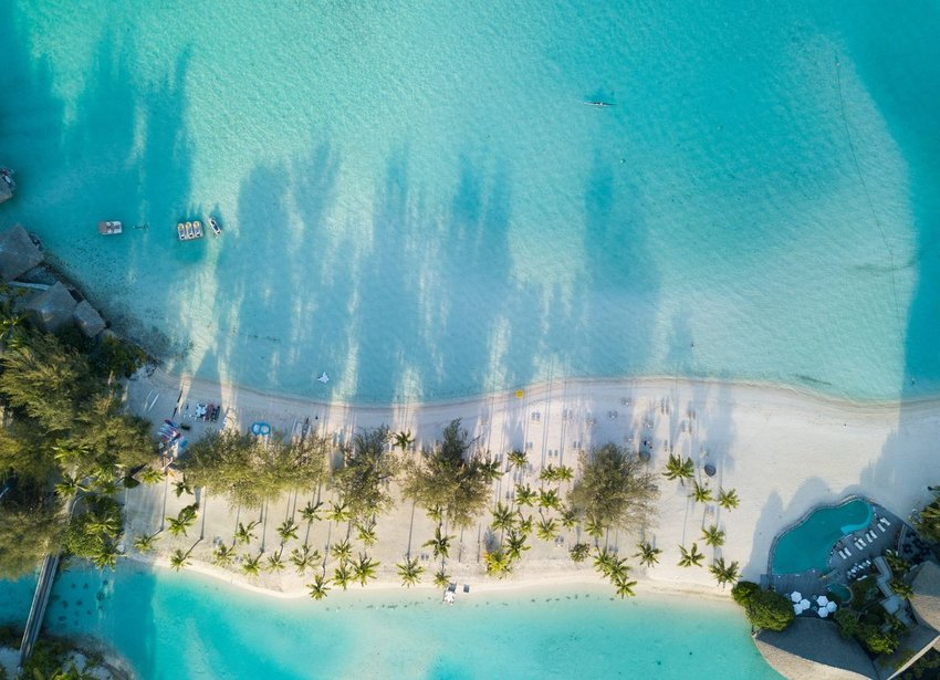 Aerial view of beach in French Polynesia