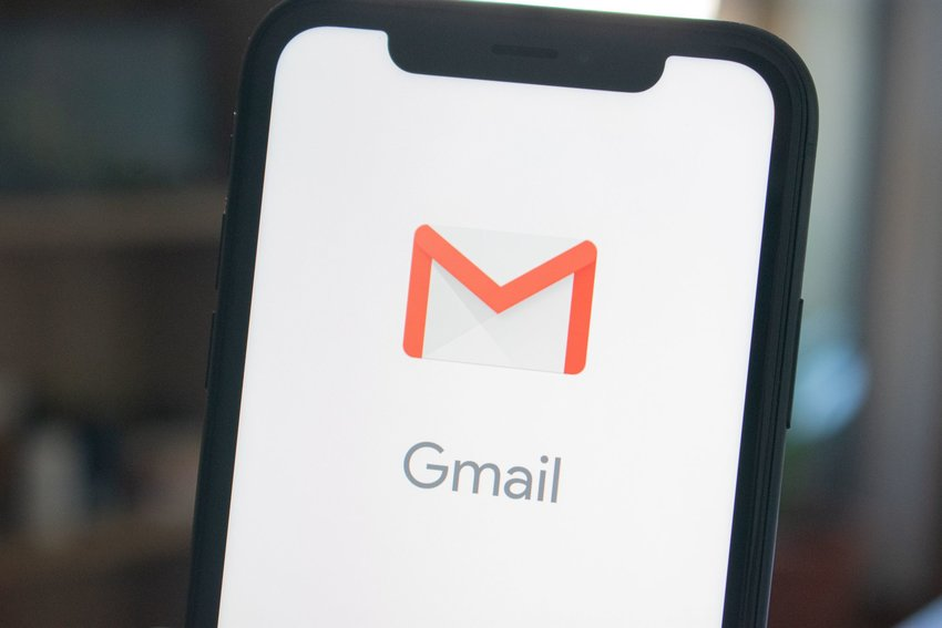 Smart phone with Google mail app open