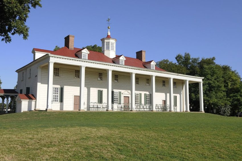 Mount Vernon home on a hill of green grass