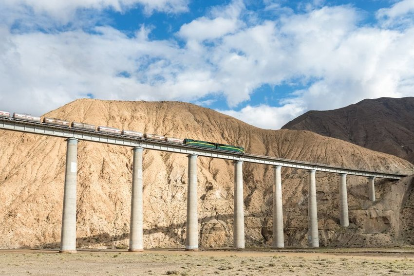The Qinghai-Tibet railway bridge, China