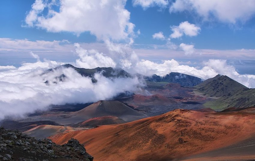 Caldera of the Haleakala volcano in Maui island, Hawaii