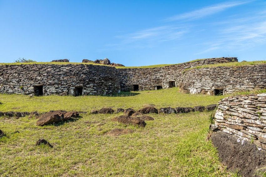 The village of Orongo on Easter Island
