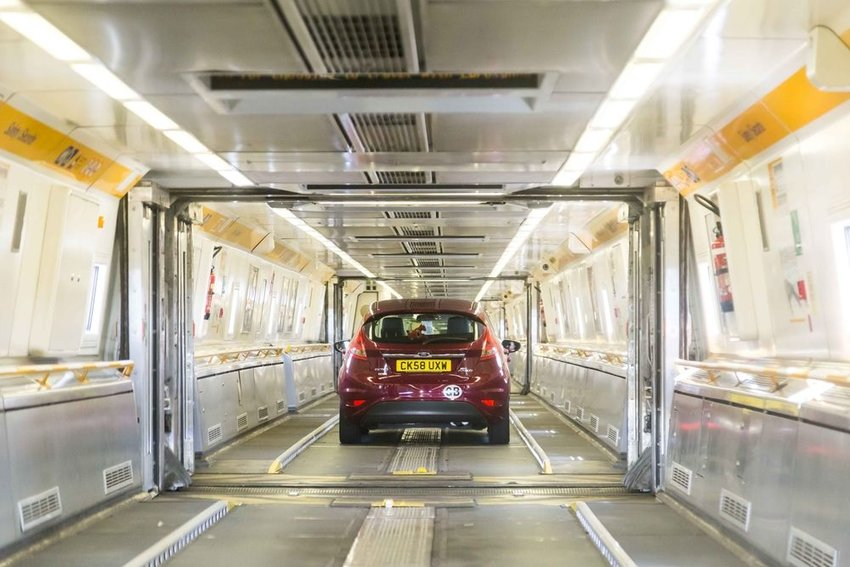 Car driving through the Channel Tunnel