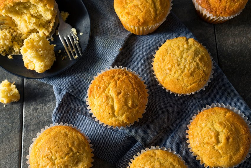 A batch of freshly baked corn muffins