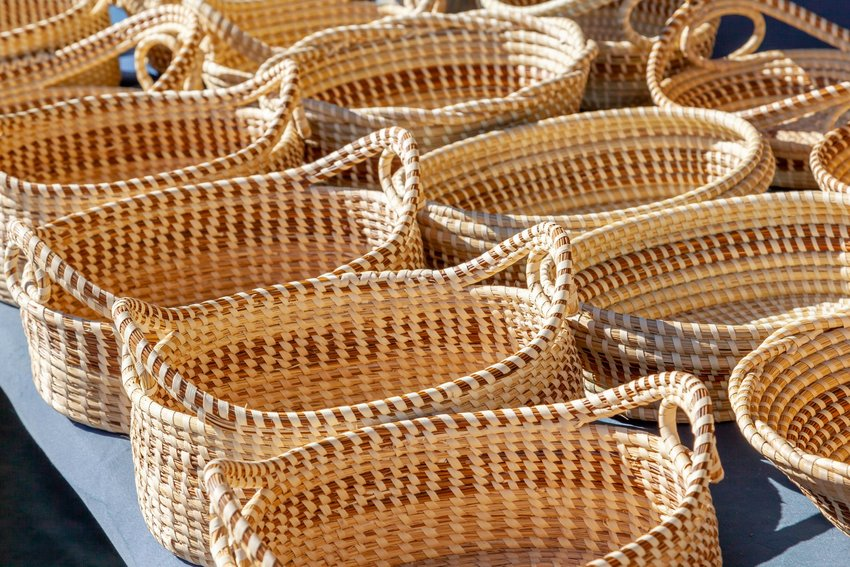 Rows of sweetgrass baskets