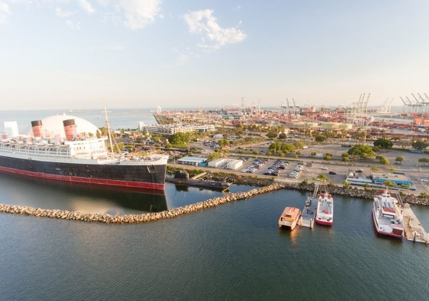 Aerial view of Long Beach Queen Mary, USA.