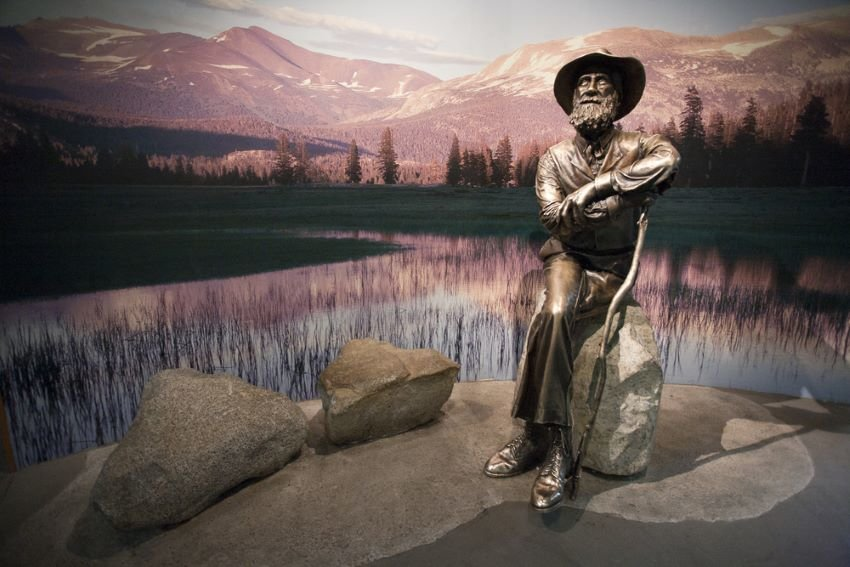 John Muir Memorial, Yosemite Visitor Center, in Yosemite National Park, CA.