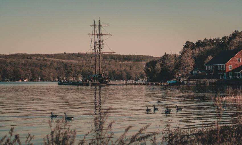 A docked sailboat in Penetanguishene, Ontario.