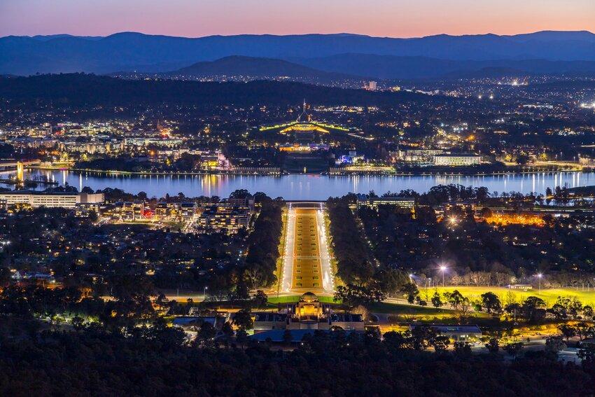 Canberra skyline lit at night