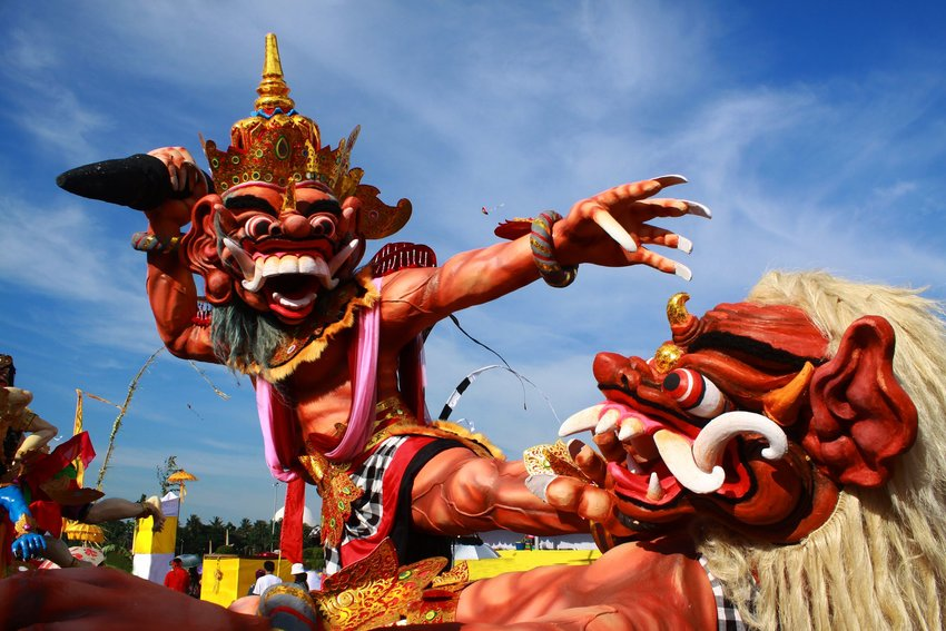 Giant puppet in parade celebrating day before Nyepi