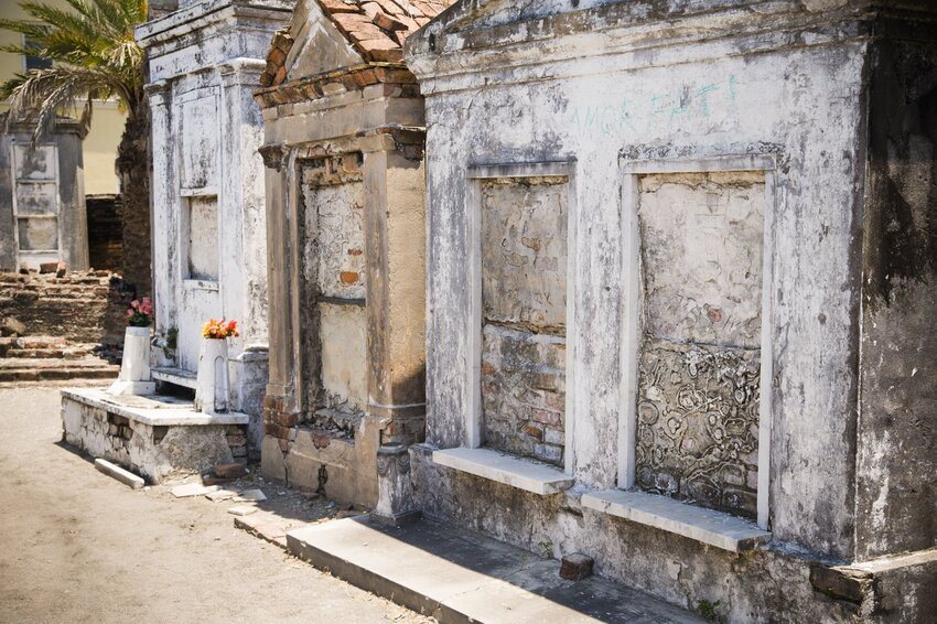 Weathered stone tombs in St. Louis Cemetery #1
