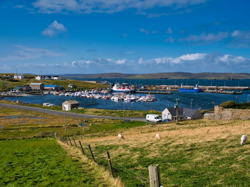 Overview of harbor of Whalsay