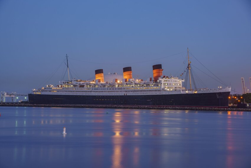 Queen Mary docked in Long Beach Harbor at night