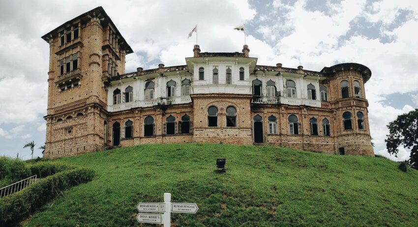 Kellie's Castle on a grassy hilltop