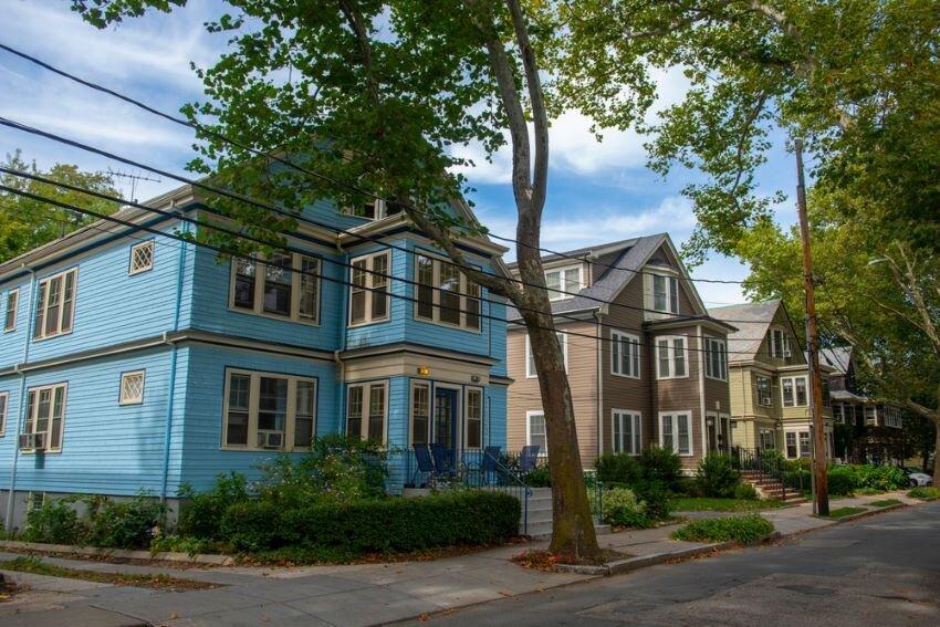 Tree-lined residential street in Brookline, Massachusetts, near JFK's historic home