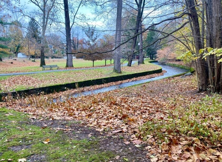 Stream running through Grover Cleveland Park in Caldwell, New Jersey