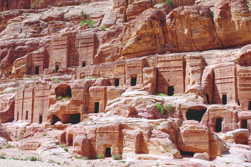 Graves in the rock in Petra.