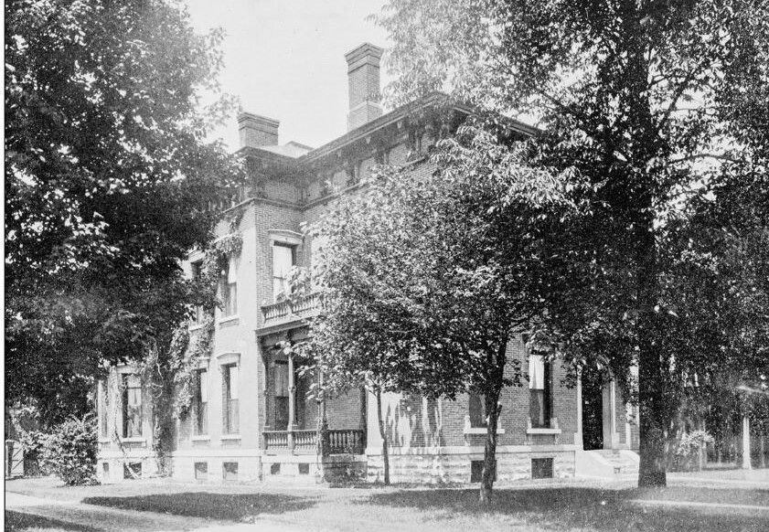 Antique photograph of World's famous sites: President Harrison's House, Indianapolis.